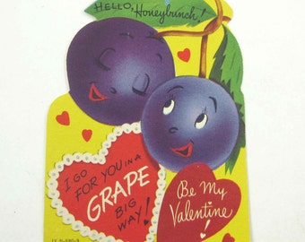 Vintage Children's Novelty Valentine Card with Adorable Anthropomorphic Grapes Fruit Food