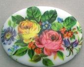 50% Off Sale 1 Vintage Plastic Floral Cameo - 40x30 - Multi Color VIC018