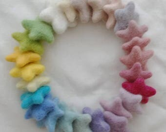 100% Wool Felt Stars - 25 Count - Approx 3cm - Assorted Light, Pale & Pastel Colours