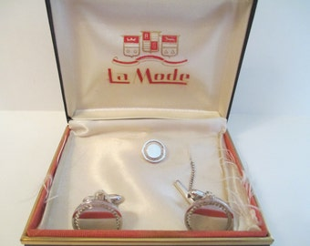Vintage LaMode Cuff Link and Tie Tack Set with Original Box - Estate Jewelry