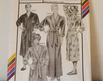 Classic Robe Pattern UNCUT Stretch & Sew Pattern 2000 Ann Person Pattern Size Small Medium Large Men's Robe Women's Robe Long Robe Short