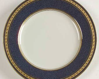 Vintage Mikasa, Imperial Lapis by Mikasa, Pattern Number: L2826, Elegant China, Fine Porcelain Salad Plate, Regal Gold & Blue