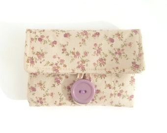 cute earbud pouch. case for rosary. cute pouch. light brown caramel rose small fabric padded ear bud case
