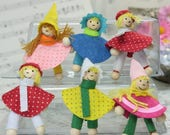 """Set of 6 German Fairytale Dolls - 2"""" Tall - Imported from Germany miniature dolls dollhouse diorama project craft - 206-0953"""