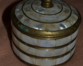 Vintage Brass and Mother of Pearl Trinket Box Jewelry Box India