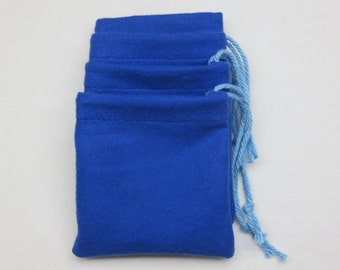 "Set of 4, 3"" x 3"" Solid Blue Flannel Cotton Hoo Doo / Mojo Bags / Jewelry Pouches"
