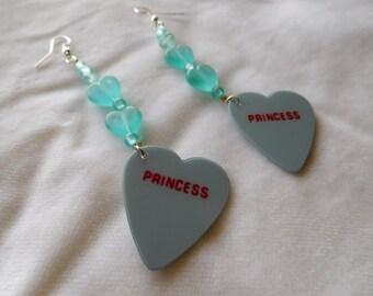 Earrings Guitar Pick Jewelry Plectrum Dangle Conversation Heart Candy Princess Hime Blue Pierced Fishooks Fairy Kei Pastel Kawaii Grunge
