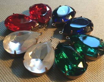 Vintage Glass Rhinestone (1)(25x18mm) Choose Color Goldfoil Back in Setting