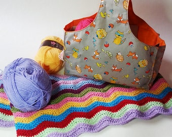 Karrie knitting and crochet project wrist bag. Fox and woodland animal print fabric UK Seller