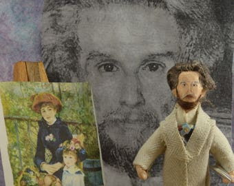 Pierre Auguste Renoir Impressionist Painter Artist Diorama Scene Miniature Sized Doll