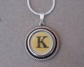 Typewriter key jewelry necklace  Aged CREAM  LETTER K  Typewriter Key Necklace - Initial K serif font Initial Necklace