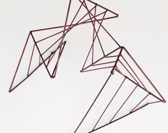 MCM Wire Sculpture - abstract, metal, red, geometric