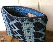Indigo coverlet zipper pouch, clutch, utility bag - 19th century hand woven wool - eco vintage fabrics