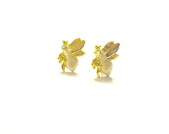 Vintage Honey Bee Earrings, Honey Bee Stud Earrings, Vintage Earrings, Stud Earrings