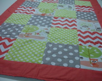 Woodland Babies Coral Lime Gray Minky Blanket 32 x 43 READY TO SHIP On Sale
