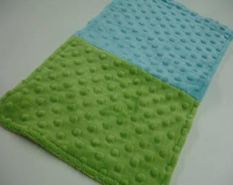 Aqua and Green Double Sided Minky Burp Cloth  9 x 16 READY TO SHIP On Sale