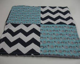 Manly Owls Black Navy Gray Aqua Four Square Baby Minky Burp Cloth 12 x 12 READY TO SHIP On Sale