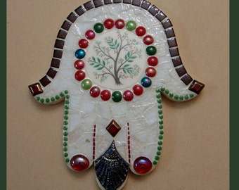 Hamsa Mosaic Art Mixed Media Vintage China Stained Glass Original Ooak