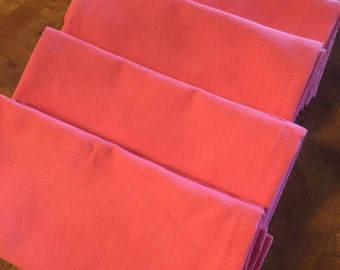 Set of 4 Coral Cotton Cloth Napkins