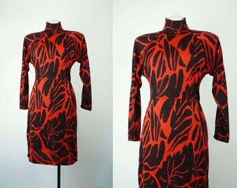 Vintage Knit Dress | 1990s Abstract Animal Graphic Print Dress | Red And Black Dress | 90s Clothing Sweater Body Con Dress
