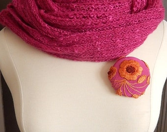 Dark pink and orange brooch, embroidered pin, coat accent, hat jewelry, glove decoration, winter accessory