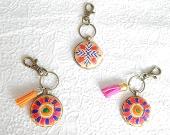Embroidered key ring, key fob, tassel ring, orange keyring,  bridesmaid gift, handbag accessory
