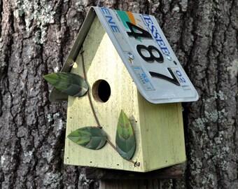 Rustic Birdhouse - License Plate Birdhouse - Recycled Birdhouse