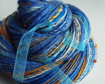 ON SALE Handspun Art Yarn - RA in the Sky with Diamonds - Sun God of Ancient Egypt. Light Blue, Orange. Ribbons, Carnelian. Luxury Knitting.