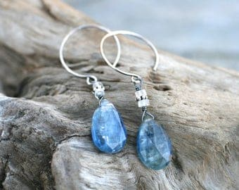 Kyanite, Rainbow Moonstone Gemstone, Sterling Silver Earrings, Blue Gemstone Earrings, Kyanite and Moonstone Jewelry, Hoop Dangle, Bohemian