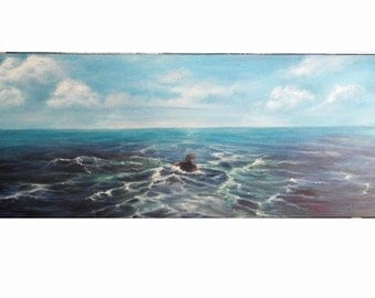 "Seascape Oil Painting The Swimmer, Ocean Clouds Sky 12"" x 36"" READY to SHIP"