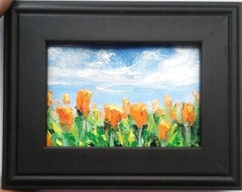 """Mini Oil Painting Orange Flower Field Oil on Canvas Paper 2.5""""x 3.5"""", Framed to 3.5"""" x 5"""" READY to SHIP"""