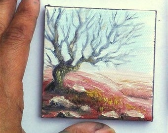 "Mini Oil Painting Tree Silhouette  3""x 3"" READY to SHIP"
