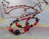 Black Eyeglass Chain | Eye Glasses Chain with Gold Bali Vermeil | Red Eyeglasses Chain | Beaded Glasses Cord | Librarian Book Lover Gift