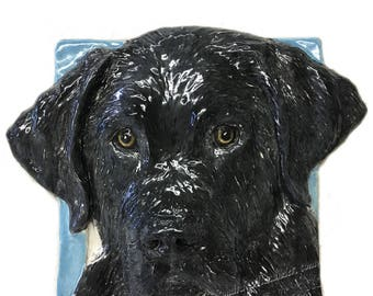 Black Labrador Retriever Ceramic Portrait Sculpture 3D Dog Art Tile by Sondra Alexander ready to ship