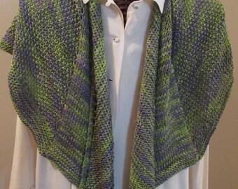 Peridot and Lavender Silk Wool Scarf