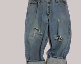 44 Raw Destroyed Vintage Levi Boyfriend  jeans 44 waist denim jeans