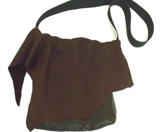 Raw Distressed Handmade Leather Crossbody  Bag