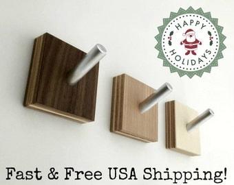 Wall Hooks, Modern Wood Coat Hooks, Minimalist Modern, Industrial Chic, Cubist Decor