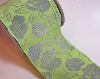 Wide Wired Ribbon, Offray Green Kina Wired Fabric Ribbon 4 inches wide x 10 yards, Full Bolt, Gray Flocked Roses