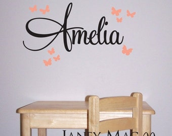 ON SALE Custom Vinyl Name with Butterflies Wall Decal - Butterfly Wall Decor Sticker - Girls Custom Name - CM120