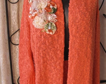 Upcycled Altered Couture Coral Sweater Size Large Upstyled Roses Repurposed Wearable Art