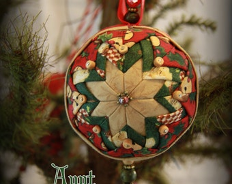 Handmade Quilted & Beaded Christmas Ball Ornament Red Green Beige