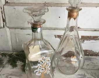 Vintage Liquor Bottles - Decanter - Glass Stopper - Golden Bough and Old Taylor