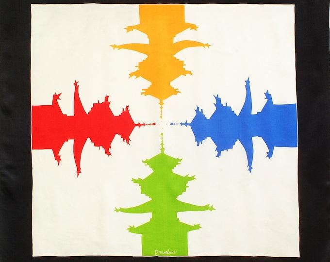 Silk Scarf Handpainted, Japanese Scarf, Batik scarf, hand made, Art to wear, Elegant scarf, Temple scarf, Silk neck scarf, Square scarf