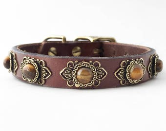 Kitsune leather dog collar for small dogs