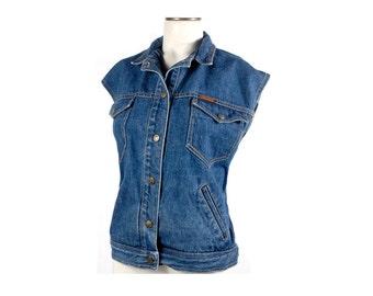 Vintage 80s Vest - 80s Denim Vest - 80s Jeans Vest - Landlubber Jeans - 80s Landlubber - Landlubber Vest - NOS - 80s Rocker Vest - XL XXL