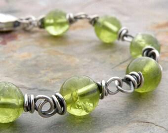 Peridot Bracelet, Green Birthstone Bracelet, August Birthday, Sterling Silver Wire Links, Round Beads #4794