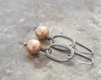 peach pearl and sterling silver dangle earrings, oxidized metalwork dangle earrings, pearl earrings