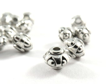 25 Antique Silver Barrel Spacers Tibetan Style Lantern Beads Large 2mm Hole LF 7x5mm - 25 pc - M7075-AS25