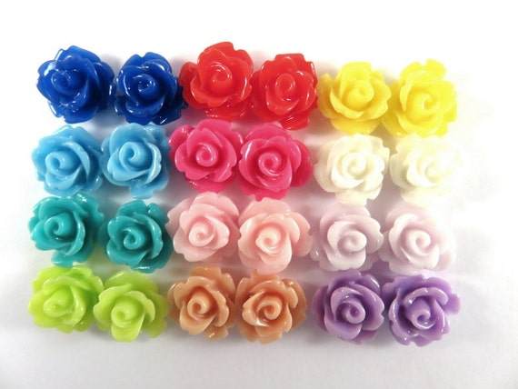 BOGO - 24 Rose Flower Cabochon Beads Resin Bead 10mm Assortment - No Holes - 24 pc - CA2006-AS24 - Buy 1, Get 1 Free - No coupon required